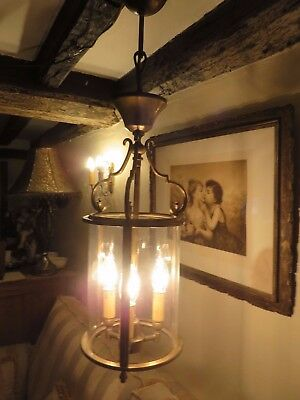 Superb Vtg. French Brass Circular Porch Or Hall Lantern   ~ Period  Interior