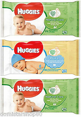 168 LINGETTES HUGGIES= 2 paquets NATUREL CARE (112) + 1 paquet PURE (56) PROMO