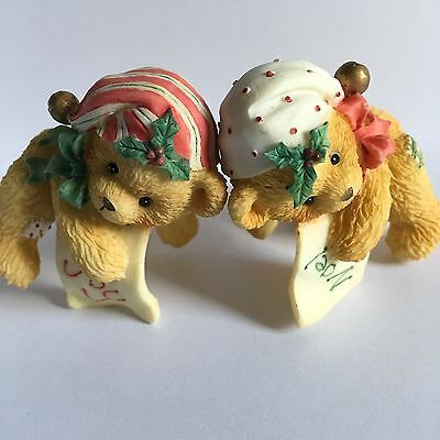 Cherished Teddies Christmas BEARS WITH STOCKING HATS CANDLE HUGGERS