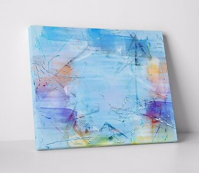 Abstract Splatter Oil Paint Pastel Blue Wall Art Canvas Print Picture A2 A1 A0