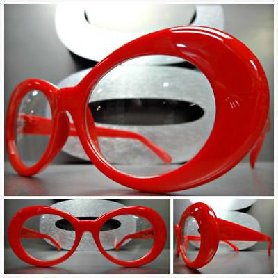 Men's or Women VINTAGE RETRO Style Clear Lens Eye Glasses Red Oval Fashion Frame