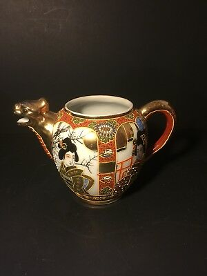 Ornate Vintage Japanese tea pot dragon painted gold tone w/raised moriage decor