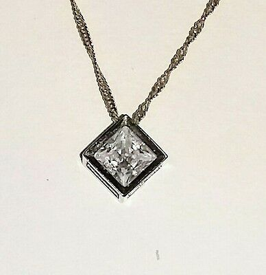 Diamonique Princess Cut Pendant
