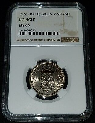 1926 HCN GJ Greenland 25 Ore No Hole (MS 66) NGC