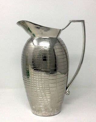 Vintage Rare Silver Plated Pitcher with Alligator Pattern