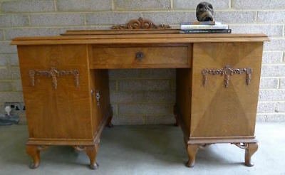 Vintage Danish Antique Oak Writing Desk Double Pedestal carved cupboard doors &