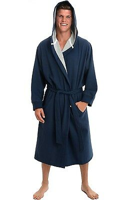 Alexander Del Rossa Mens Navy Blue Sweatshirt Style Hooded Cotton Bathrobe 3X/4X