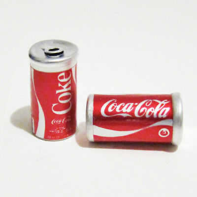 TWO ALUMINUM Cans of Coca-Cola© Coke For Your Dollhouse 1:6 BARBIE Scale 7/8""