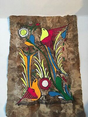 "Vintage Hand Painted Amate Bark Mexican Folk Art Painting-Birds/Flowers-8.5""x12"""