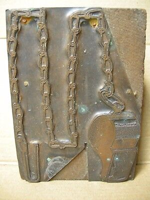 Vintage large letterpress printers block whistle with chain