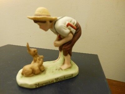 "Norman Rockwell  BOY WITH BUNNIES 1982 Dave Grossman 3"" Tall Figurine WITH LABEL"
