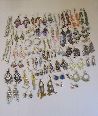 Lot of 52 Pierced Earrings Costume Jewelry Some Marked 925 Vintage 1980s