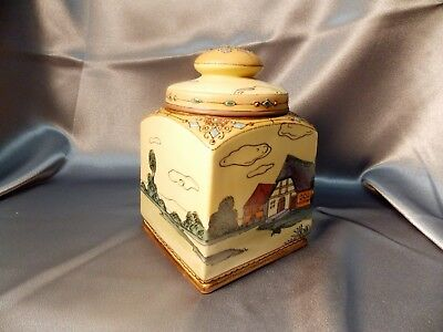 Rare Antique Hand Painted Scenic Moriage Nippon Porcelain Biscuit Jar Humidor