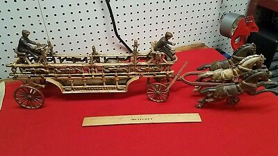 Antique Large Cast Iron Horse-Drawn Fire Ladder Wagon w/ 3 Horse Team 2 Drivers