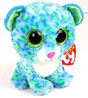 1b83fddbb26 TY Beanie Boo Leona the Blue Leopard Plush Stuffed with heart tags Animal  Toy