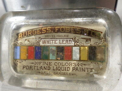 Burgess Fobes & Co Portland Maine White Lead Paint Glass Paper Weight Desk