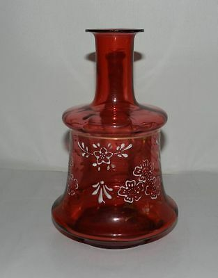 Early 1900s Hand Enameled Red Vase