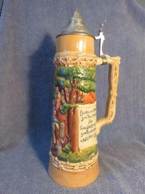 Vintage # 3251 German Lidded Beer Stein 15 inches Tall and 2 L