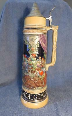 Vintage # 3262 German Lidded Beer Stein 18 inches Tall and 3 L