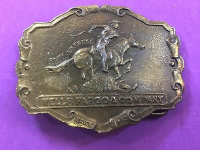 Vintage Belt Buckle Wells Fargo and Co  - Horse Back Rider - Since 1852