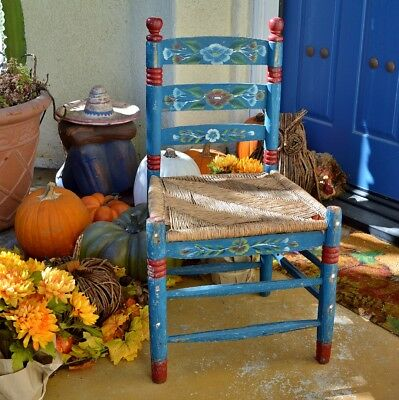 Vintage Handmade and Hand Painted Adult Size Folk Art Chair Blue