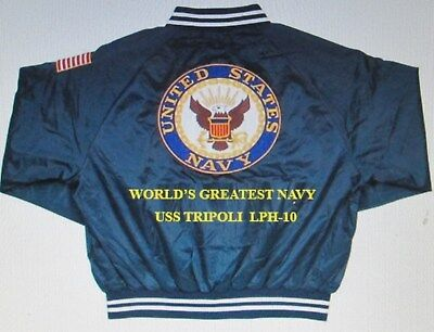 """Uss Tripoli  Lph-10  Navy Anchor """" Embroidered 2-Sided Satin Jacket"""