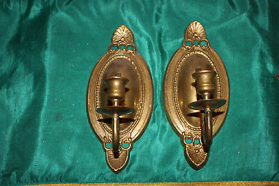 Vintage Victorian Style Brass Metal Wall Mount Candle Holder Sconces-Pair