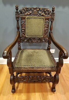Antique Heavily Carved Renaissance Throne Chair with Cherubs