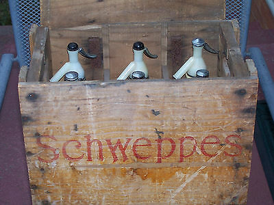 Collectable Vintage Schweppes Soda Syphon Bottle x 6 -Box 1970  with lid
