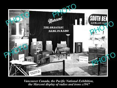 OLD HISTORIC PHOTO OF CANADA INDUSTY, VANCOUVER, THE MARCONI RADIO DISPLAY c1947
