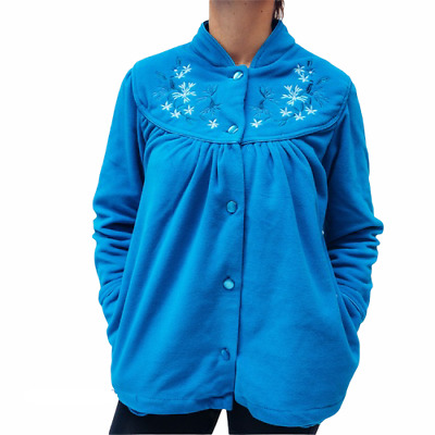 Ladies S-XXL Givoni (90) Button Up Bed Jacket Lounge Wear Polar Fleece Blue