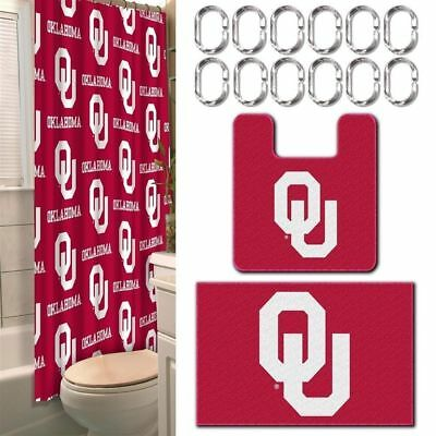 Oklahoma Sooners NCAA 15 Piece Bath Set Shower Curtain Rings Rugs View N