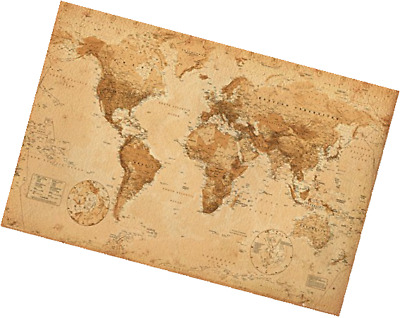 "High Quality Poster Print Home Wall Decor World Map Antique Art  24"" x 36"" Craft"