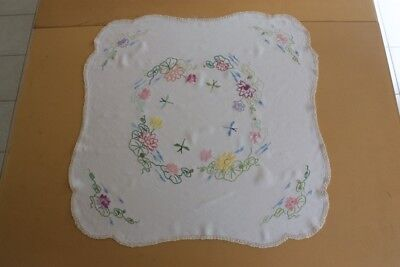 VINTAGE TABLECLOTH Cream Linen Embroidered & Crocheted 82x81cm #66