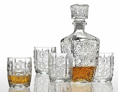5 Pcs Crystal Glass Whiskey Bar Set Decanter Bourbon Scotch Glasses Liquor Gift