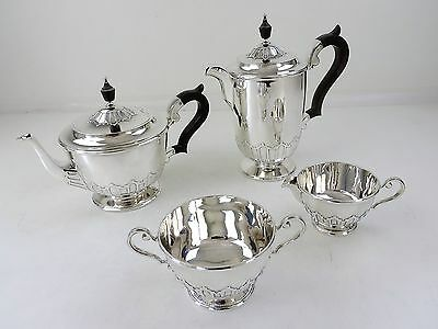 Cut card 4 piece SILVER TEA & COFFEE SERVICE, London 1918  2060grams teaset