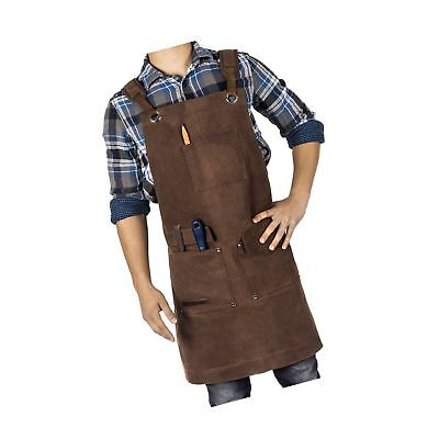 Waxed Canvas Heavy Duty Shop Apron With Pockets Adjustable up to XXL for Men ...
