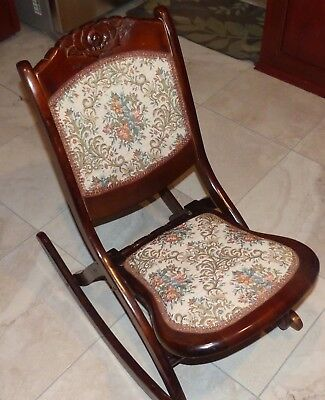Vintage (early 1900's) Tapestry Folding Wood Rocking Chair, Carved Floral Design
