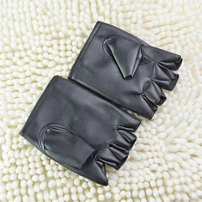 Men's Leather Gloves Half Finger Fingerless Stage Sports Cycling Driving Punk YK