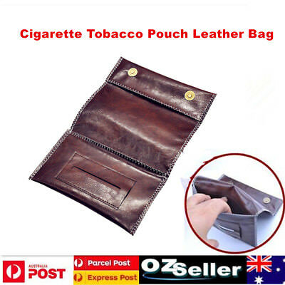 Cigarette Tobacco Pouch Leather Bag Wallet Case Holder Filter Rolling PaperBrown