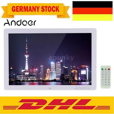 "17""HD 1080P LED Digitaler Bilderrahmen Foto Alarm MP3/4 Media Video Spieler Weiß"