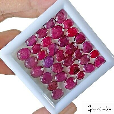 33+ Ct Natural Lovely Red Heated Ruby Mozambique Oval Faceted Wholesale Gems Lot