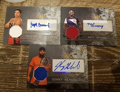 2016 Topps UFC Top of the Class Johny Hendricks + Magny + Benavididez auto relic