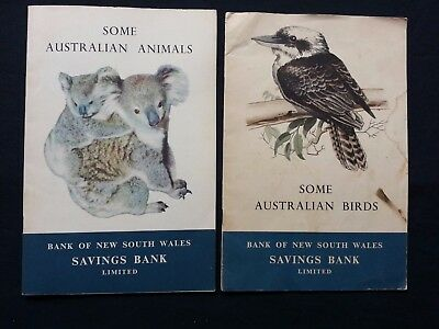 Pair Vintage 1950's Bank of New South Wales Some Australian Birds / Animals NSW
