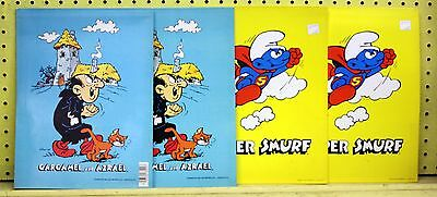4 Vintage Mead 1982 Two Pocket Folders SUPER SMURF & GARGAMEL