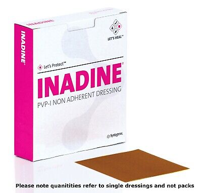 Inadine 5cm x 5cm Non-Adherent Wound Dressings, Povidone Iodine - Choose QTY