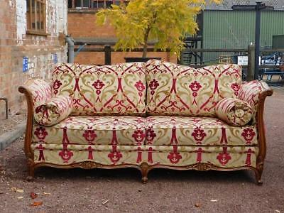 A Stunning Vintage Walnut Sofa Settee In The Antique French Art Nouveau Manner