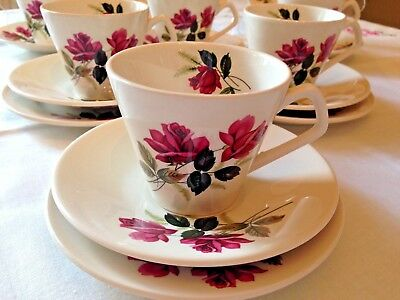 VINTAGE TEA SET Tea Cup & Saucer Trios PINK ROSES 1950s LORD NELSON 18-Piece