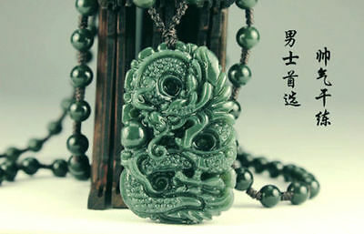 Natural green hand-carved Chinese Hetian jade dragon pendant necklace free