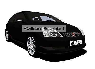 Honda Civic Type R (Facelift) Graphic Car Art Print (Size A3). Personalise It!